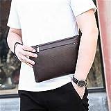 Porta Banconote | Wallet con PortamoneteBorsa da uomo moda casual in morbida pelle da uomo pochette borsa da polso grande capacità marrone