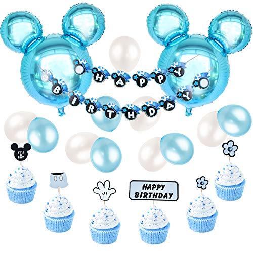 JOYMEMO Mickey Mouse Geburtstag Dekorationen blau für Jungen, Happy Birthday Banner und Mickey Cupcake Toppers für den ersten Geburtstag