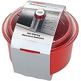 Fácil Cook 2,5 litros Polly non-las manchas policarbonato apta para microondas cocinar al vapor en microondas, rojo