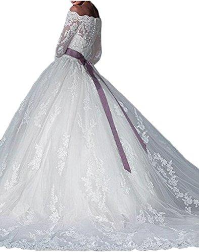 ivyd ressing Femme Elegant U Long de la découpe aermel Duchesse ligne dentelle robe de mariée de mariée Vêtements Weiß