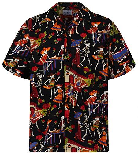 D.C. Original Camisa Hawaiana, Skeleton, negro 6XL