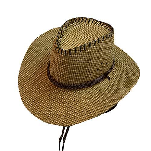 CANDLLY Hut Damen, Kopfbedeckung Zubehör Kopfschmuck Mode Mode Unisex Western Cowboy Hut für Gentleman Sombrero Breiter Krempe(C,One ()