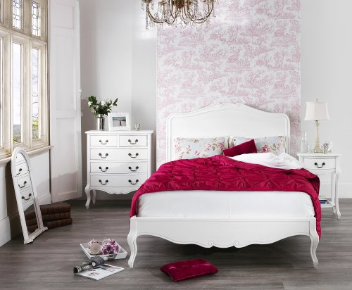 Juliette Antique White Double Bed with wooden headboard. Stunning French bed with carved headboard and footend. QUALITY 4ft6 bed