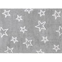 Aratextil Estrella Alfombra Infantil, Algodón, Gris, 120x160 cm