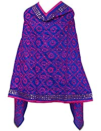 A Pure Blend Of Punjab Royal Blue Chanderi Phulkari Dupatta With Pink Embroidery By Fly Soul