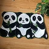 KOOCO 80CM*50CM 3 Pandas Rug Handmade Rugs Non-Slip Floor Mats for Bathroom Animal Rug for Kids Small, 19'X31'