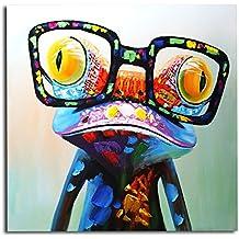 IPLST @ Handmade Rana con occhiali, Funny cartoon animale pittura a olio su tela, artistica da parete moderno decorazione (senza cornice, senza telaio)