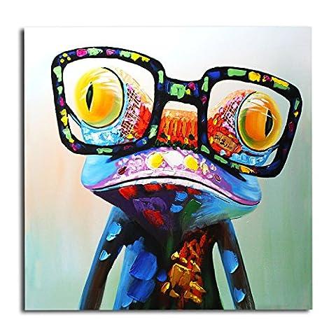 IPLST@ fait main Funny Cartoon Grenouille avec des lunettes Animal Huile peinture sur toile, toile Art Décoration murale moderne (sans cadre, sans