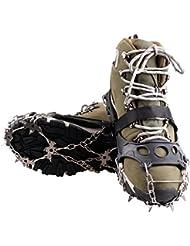 KepooMan 18 Dientes Claws Crampones Grapas Antideslizante Zapatos Cubierta Cadena de Acero Inoxidable al Aire Libre Esquí Nieve Senderismo Escalada (XL)