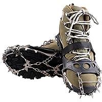 KepooMan Ramponi a 18 Punti a Forma di Artiglio Antiscivolo Copriscarpe Neri Catena in Acciaio Inossidabile per Escursioni Sci outdoor Sulla Neve, Arrampicata (XL)