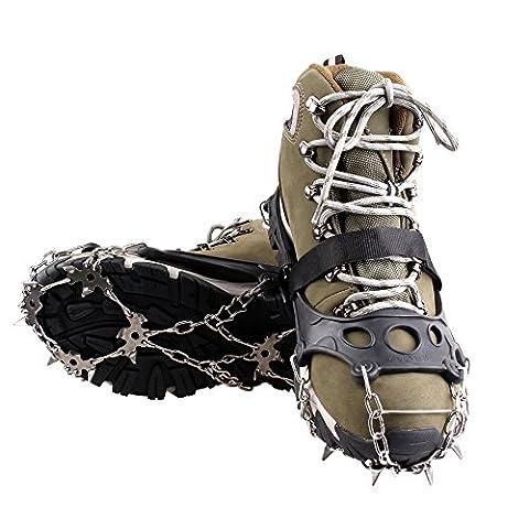 Steigeisen mit 18 Zähne-Klauen , Anti-Rutsch-Schuhe, mit Edelstahl Kette für Outdoor ,Ski, Eis, Schneeschuhwandern uund Klettern ,in Schwarz (XL)