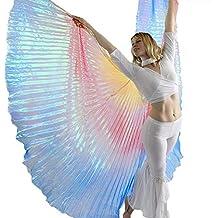 Danzcue Gradiente Neón Danza del Vientre Danza ángel alas de ISIS con Palos para Mujer Pequeña