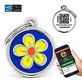 Blech Namensschilder für Hunde Blume mit NFC Contactless und QR verwaltbar Per App | (mehrfarbig) 29 mm