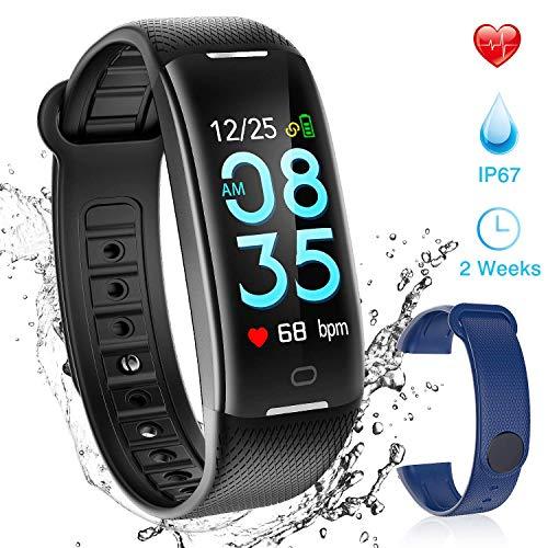 AGPTEK Pulsera Actividad Inteligente Impermeable para Hombre y Mujer, H01 Reloj Inteligente con Correa Cambio, Podómetro, GPS Soporta Monitor Presión Arterial, Sueño para iOS, Andrior, Negro/Azul