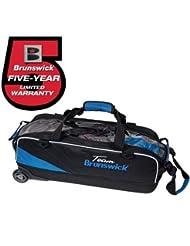 Team Brunswick Slim Triple Roller Bowling Bag- Black/Cobalt by Brunswick