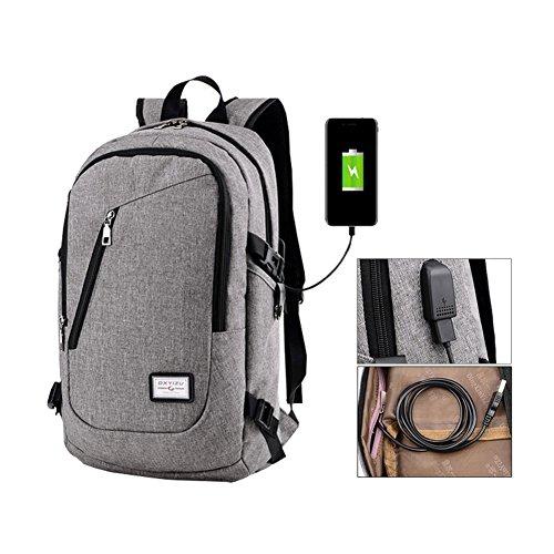 Fastar, zaino per computer portatile con porta USB di ricarica, leggero e resistente, Grey