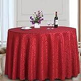 fwerq Round Table Restaurant Restaurant Tischdecke Polyesterfaser runde Tischdecke Durchmesser 220cm Tischdecke Tischdecke Tischdecken, Tisch Decken (Farbe: rot)