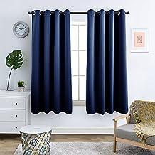 Topick Vorhnge Blickdicht Gardine Wohnzimmer Mit SenDunkel Blau145 X 130 Cm