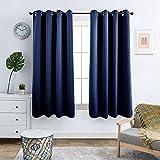 Topick Vorhänge Blickdicht Gardine Wohnzimmer mit Ösen,Dunkel Blau,145 x 130 cm(H x B), 2er-Set