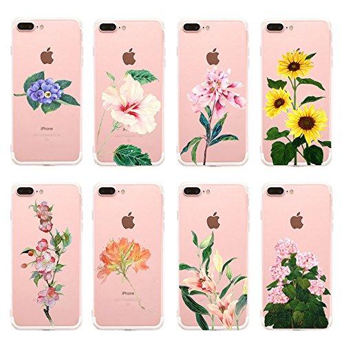 Vanki® Coque iPhone 7 Plus, Housse TPU Souple Etui de Protection Silicone Case Soft Gel Cover Anti Rayure Anti Choc pour iPhone 7 Plus 5.5Inch-série Fleurs 4