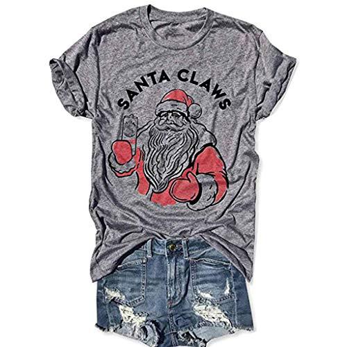 Auifor Frauen Weihnachten Santa Brief drucken Kurzarm O-Neck T-Shirt Tunika Bluse Tops