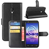 HualuBro Alcatel U5 HD Hülle, Leder Brieftasche Etui Tasche Schutzhülle HandyHülle [Standfunktion] Leather Wallet Flip Case Cover für Alcatel U5 HD (Schwarz)