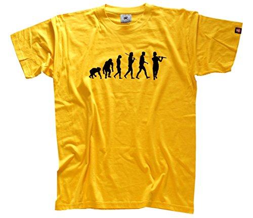Shirtzshop–Maglietta da uomo Standard Edition flauto traverso, flautista, Uomo, Standard Edition Querflöte Flöte Flötist Evolution T-Shirt  M, rosso, M giallo