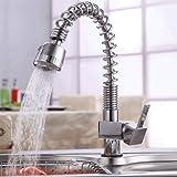 Auralum® 360°drehbar Mischbatterie Küchenarmatur Waschtischarmaturen Wasserhahn mit herausziehbarem Brausekopf Armatur