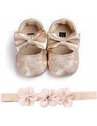 f0f876f29 Fossen Zapatos de Bebe Fossen Recién Nacido Niñas Piel Artificial Primeros  Pasos Bordado Corazón Patrones Y
