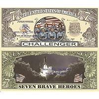 Novelty Dollar Challenger Space Shuttle Commemoration Dollar Bills X 2