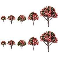 Lot de 10pcs Arbres à Fleurs en Plastique pour Paysage Modélisme Ferroviaire Echelle 1:75 - 1: 500
