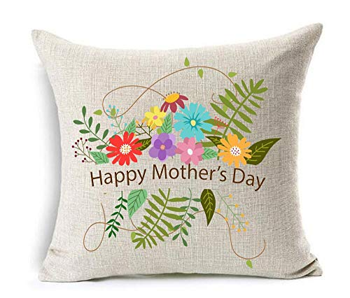 vintage cap Happy Mother 's Day Great Woman mom Cotton Linen Square Decorative Throw Pillow Case Cushion Cover 18inchs (25) -