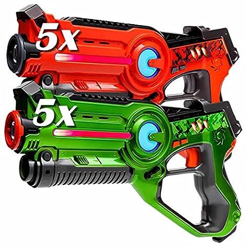 Light Battle Active Laser Tag Kit: 5 laser pistols green + 5 laser pistols orange – Lasertag toy guns -