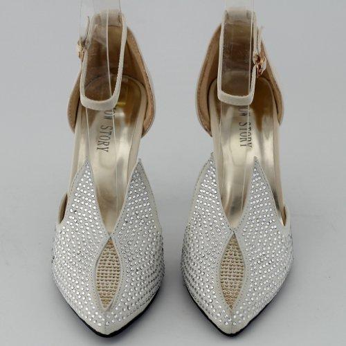 Visualizza storia Sexy a punta cristallo caviglia cinturino coniglio orecchio tacco alto pompa, QT33328 Beige