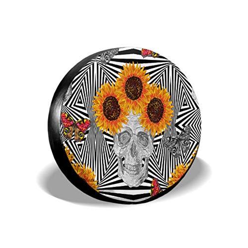 Boho Sugar Skull Butterfly Flower Copertura del pneumatico del girasole per ragazze Copertura della gomma della jeep Copertura della gomma impermeabile Uv Sun 14 '- 17' Misura per jeep, rimorchio,