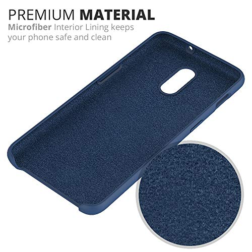 Crust Liquid Silicone Soft Touch Gel Rubber Hard Back Cover Case with Soft Microfiber Cloth Lining Cushion for OnePlus 6T - Black