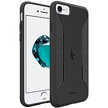 Custodia per iPhone 7, serie con scocca in carbonio-[protezione tattile antiurto sugli angoli]_[flessibile]_[texture fibra di carbonio]_custodia protettiva in silicone (TPU poliuretano)per iPhone7 Black con un designsottile e perfettamente aderente