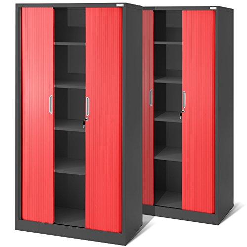 2er Set Rolladenschrank T001, Jalousieschrank, Aktenschrank, Büroschrank, Universalschrank, Querrolladenschrank, Büro Schrank mit Rolltür (anthrazit/rot)