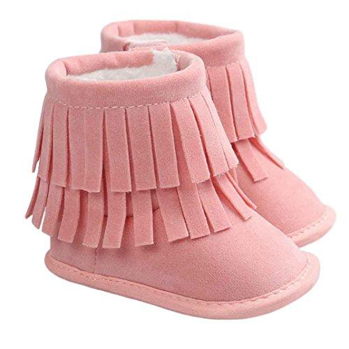 BZLine - Unisexe Bébé Frange Double Chaussure Keep Warm - Semelle à tissu - Souple (6~12 Mois, Gris) Pink