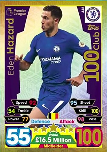Topps MATCH ATTAX 2017 - EDEN HAZARD 100 CLUB CARD - CHELSEA