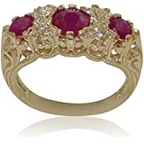 High Quality Ruby & Cubic Zirconia CZ Solid 9ct Yellow Gold Ladies Ring - Finger Sizes J to Z Available
