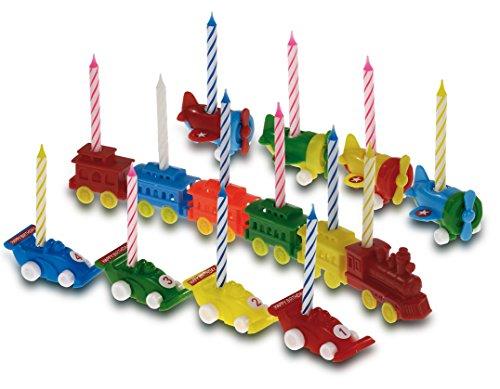 amscan-550187-Halterungen Kerzen-Modell zufällige-Zug/Flugzeug/Auto - Modell Autos Züge,