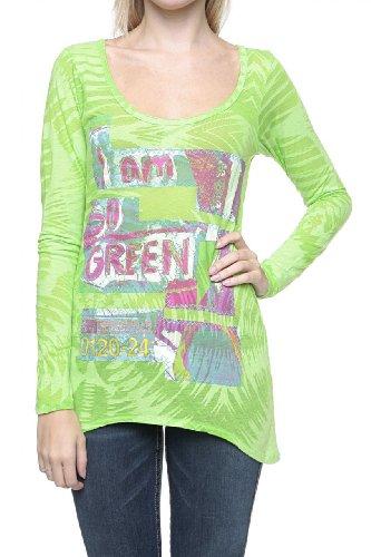 Custo Barcelona Damen Shirt Langarmshirt STERN SO GREEN Grün