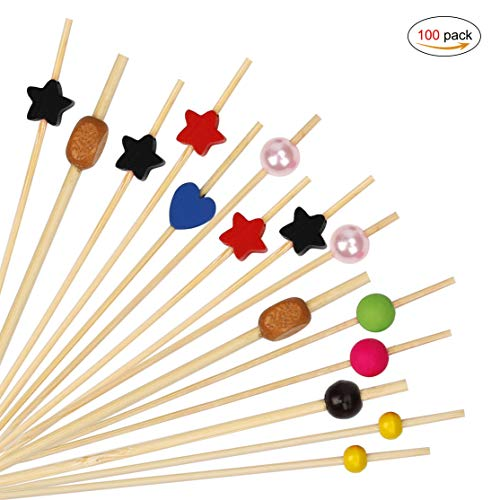 HONGXIN-SHOP Cocktailspieße Multicolor Bambusspieße Party Picker Holz Zahnstocher Cocktail Sticks für Cocktails BBQ Kindergeburtstage 100 Stück