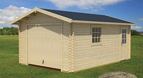 Holzgarage H89-44 mm Blockbohlenhaus, Grundfläche: 19,40 m², Satteldach