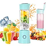 Portable Blender,Household Personal Smoothie Blender Mini Juicer Cup 480ML Fruit Juice Mixer with USB Rechargeable and 6 PCS Stainless Steel Blades for Home Outdoor, CE & FDA Approved (Blue)