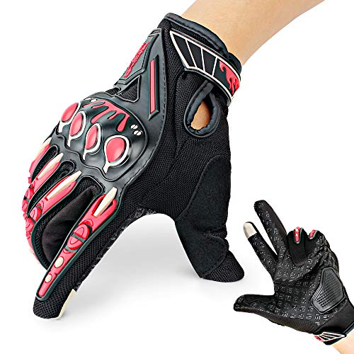 Motorrad Handschuhe mit Harten Knöchel Finger Touchscreen für Motorrad Outdoor Camping Rot M