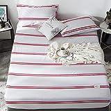 GUANLIDE Spannbetttuch Spannbettlaken,Bettlaken, Betttuch aus Baumwolle, vertiefte MatratzenbettwäscheRed Stripe150 * 200cm