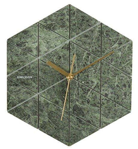Karlsson Hexagon Uhr, Wanduhr, Marmor, Grün, One Size, 3 -