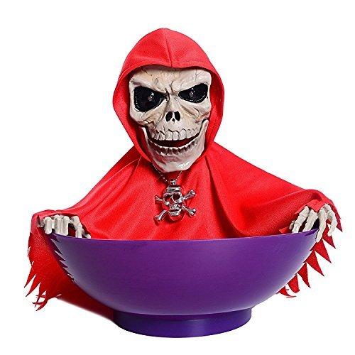 Leehonn Skull Trick or Treat Candy Bowl Halloween Ghost Decorations,LED Eyes+Built-In Motion Sensor Voice(Red-Purple) by Leehonn